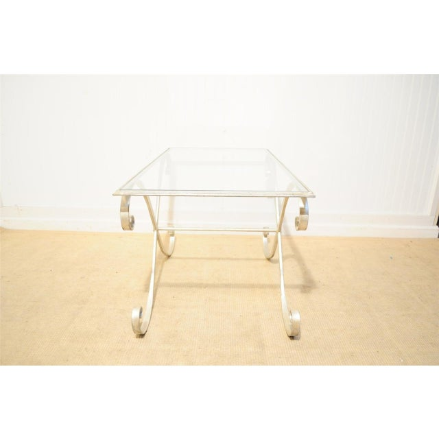 White Vintage Hollywood Regency Neoclassical Silver Gilt Metal X Form Coffee Table For Sale - Image 8 of 10