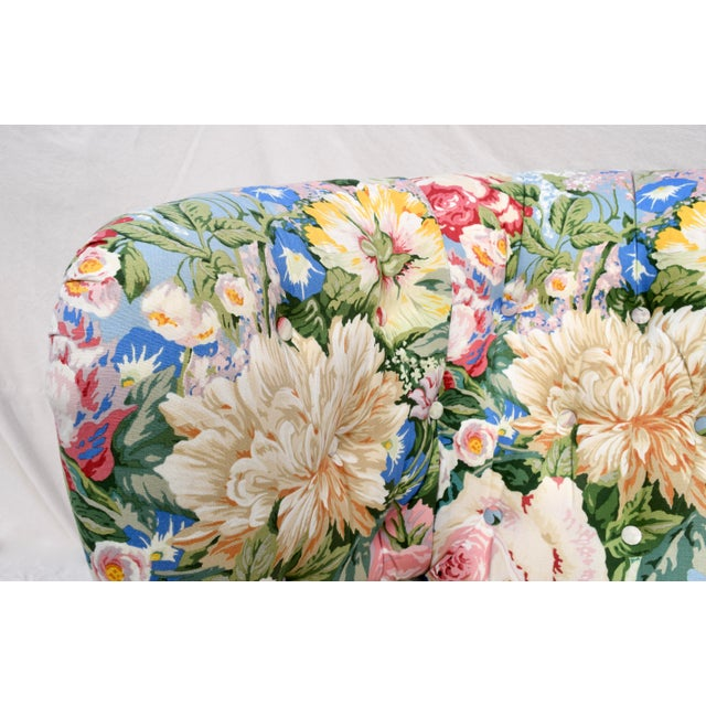 Baker Furniture Floral Tufted Wingback Chair on Brass Casters For Sale - Image 10 of 13