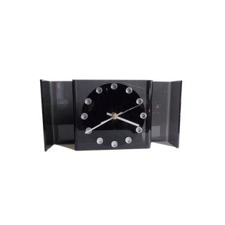 1970s Mid Century Modernist Gray Lucite Clock For Sale