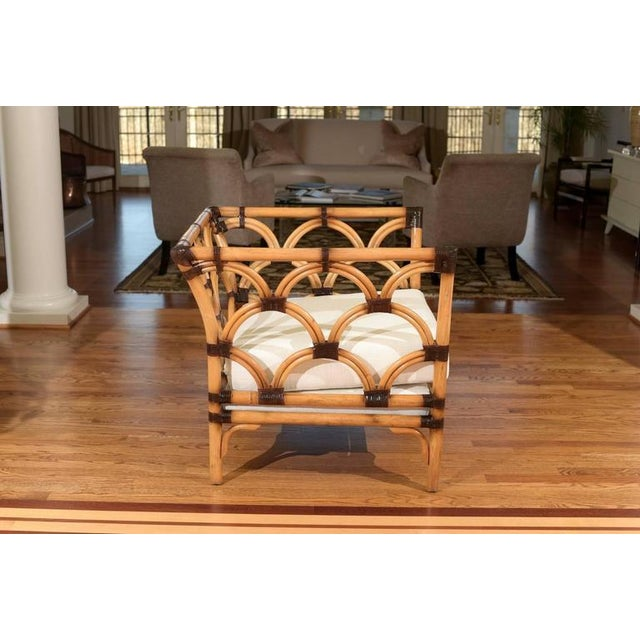Brown Amazing Pair of Scalloped Rattan Club Chairs by Peter Rocchia for Wicker Works For Sale - Image 8 of 11