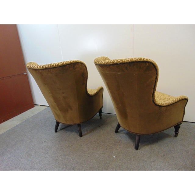 Hollywood Regency Style Leopard Velvet Lounge Chairs - a Pair For Sale - Image 4 of 6