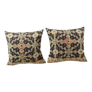 Pair of Vintage Orange and Dark Ikat Indigo Decorative Pillows For Sale