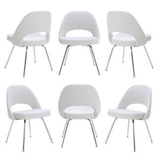 Saarinen Executive Armless Chairs in Dove Luxe Suede, Set of 6