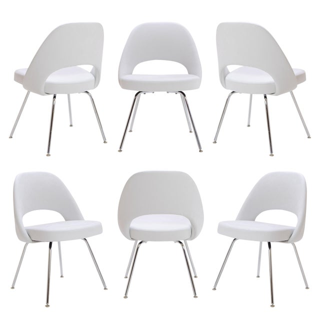 Saarinen Executive Armless Chairs in Dove Luxe Suede, Set of 6 - Image 1 of 8