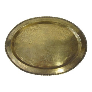Large Vintage Chinese Brass Tray For Sale