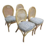 Image of 1960s Vintage Mid Century Modern Rattan Dining Chairs - Set of 4 For Sale