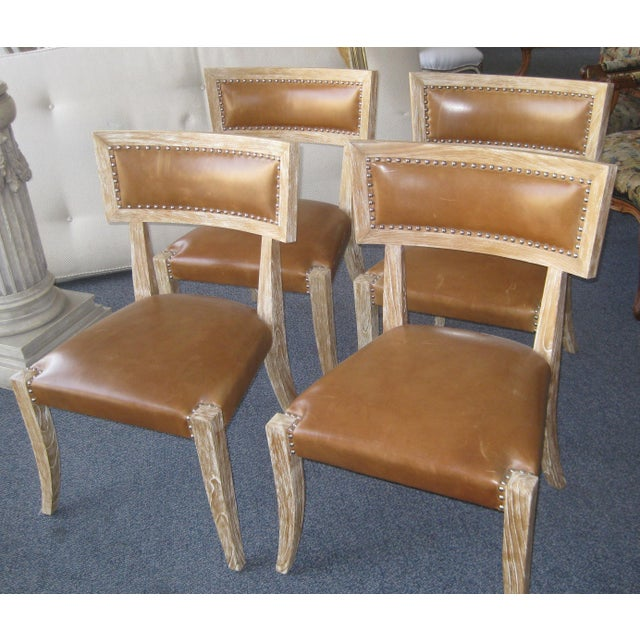 Klismos Style Chairs With Leather Seats - Set of 4 - Image 3 of 9