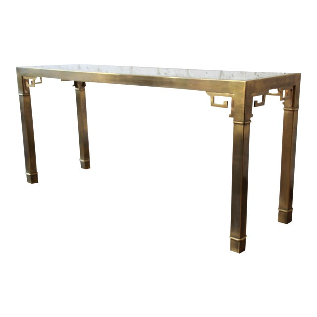 Mastercraft Hollywood Regency Brass and Glass Console Table with Greek Key Motif - Image 1 of 8
