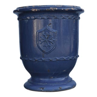 Modern French Anduze Blue Garden Pot For Sale