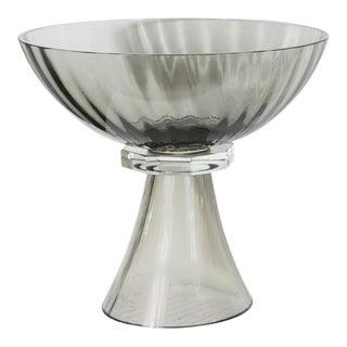 Murano Glass Modernist Bowl or Vase in Handblown Smoked Glass