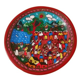Vintage Mexican Folk Art Decorative Plate For Sale