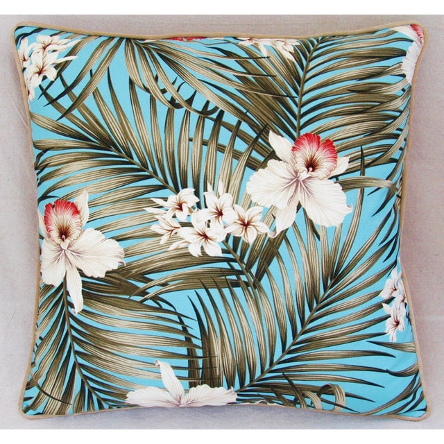 Custom Tropical Palm & Orchid Pillows - A Pair - Image 4 of 11