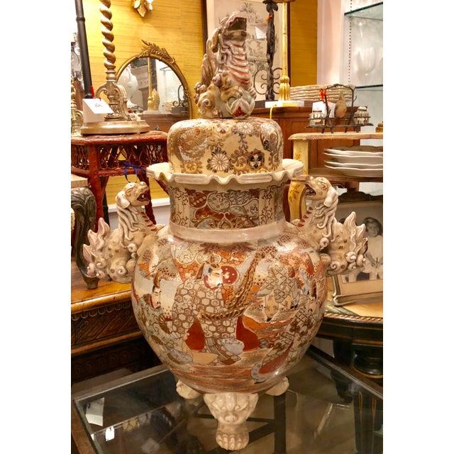 Ceramic Superb Antique Satsuma Pottery Covered Urn For Sale - Image 7 of 7