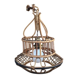 Italian Bamboo Pendant Light For Sale