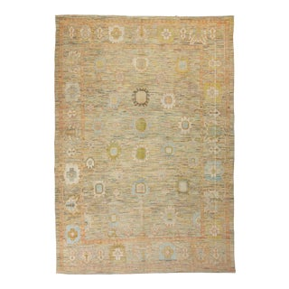 Contemporary Turkish Oushak Rug With Pastel Flowers-13'3x19' For Sale