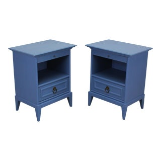 Pair of Mid-Century Blue Nightstands With Brass Hardware