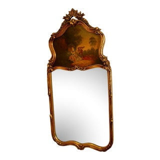 Hand Painted Decorated Top Gilt Trumeau Mirror For Sale