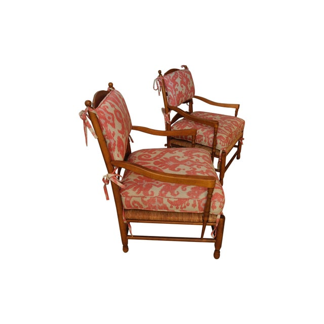 Ikat French Ladderback Cushioned Rush Seat Chairs - A Pair - Image 5 of 8