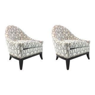 Thomas O'Brien for Hickory Chair Modern Equestrian Print Laura Lounge Chairs Pair For Sale