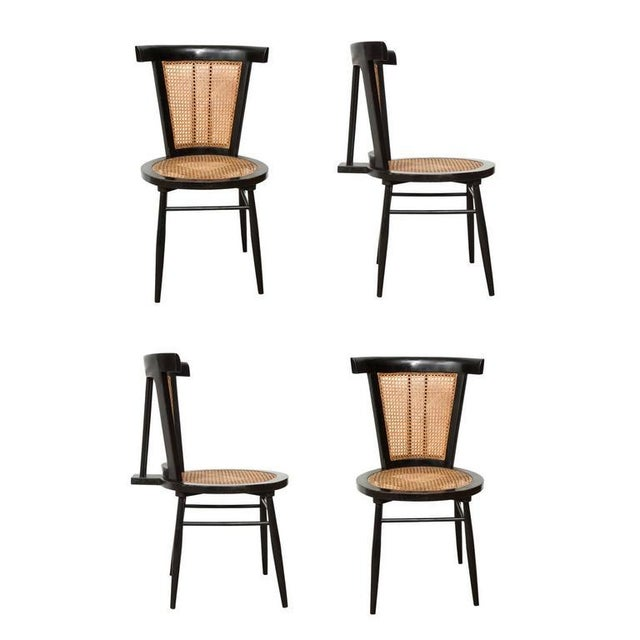 Caning Joaquim Tenreiro Set of Four Small Chairs, circa 1960s For Sale - Image 7 of 7