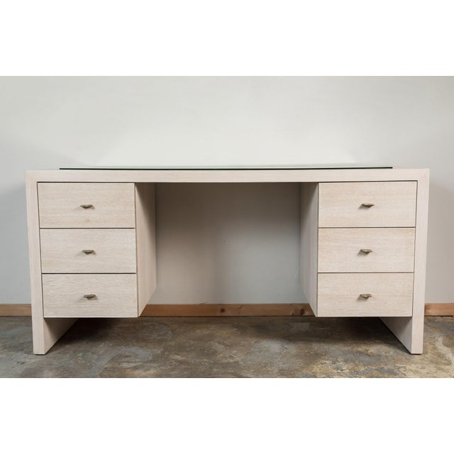 Modern Desk in Bleached Oak with Brass For Sale In Los Angeles - Image 6 of 9