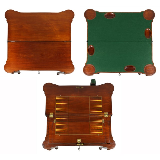 Mid 18th Century George II Mahogany Triple Top Games Table For Sale - Image 5 of 12