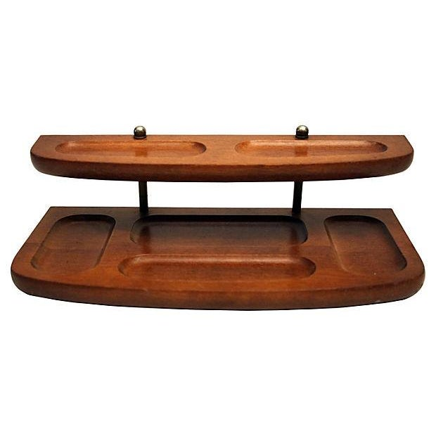 Teak And Brass 2-Tier Desk Tray - Image 1 of 4