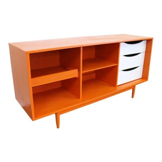 Mid-Century Modern Open Face Atomic Orange Credenza Media Console For Sale
