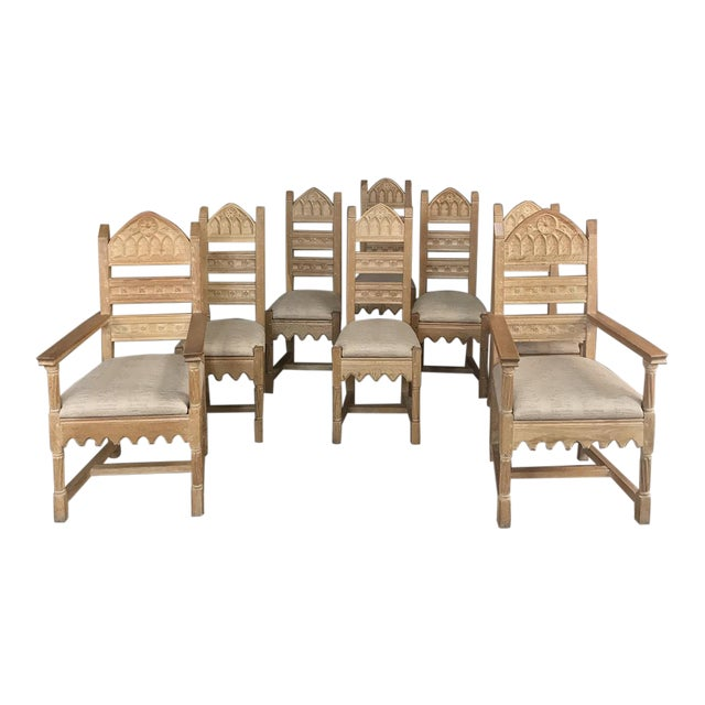 Set of 8 Antique Gothic Dining Chairs Includes 2 Armchairs For Sale
