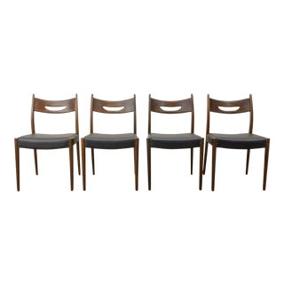 Set of Four Mid-Century Design Teak Wood and Black Leatherette Dining Chairs, 1960s For Sale