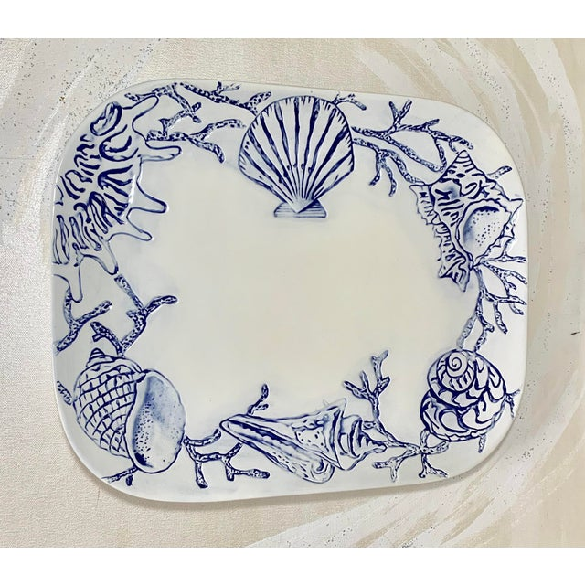 Nautical Cream and Navy Shell Design Large Ceramic Platter For Sale - Image 3 of 3