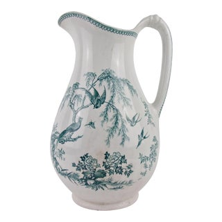 Antique Ironstone Pitcher English Blue Transferware For Sale