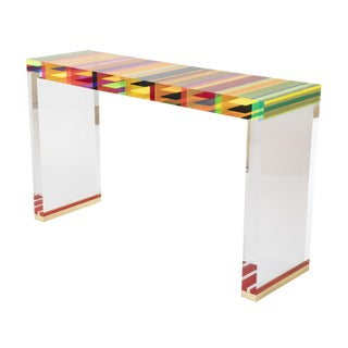 A Unique Contemporary Clear Lucite and Striped Console Table With Brass Feet For Sale