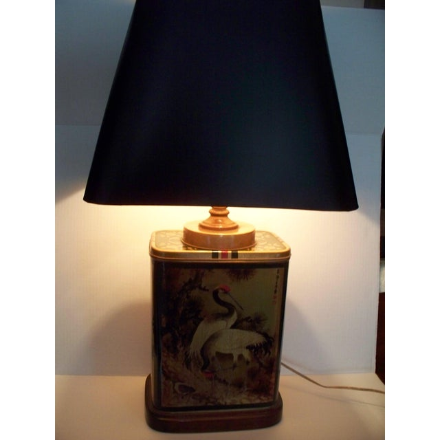 1960s Vintage Frederick Cooper Tea Canister Table Lamp With Shade For Sale - Image 5 of 11