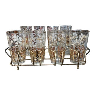 Mid Century Anchor Hocking Gold/White Floral Highball Glasses/Snack Trays Set in Wire Caddy - 11 Pieces For Sale