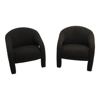 Pair of Precedent Black 90's Lounge Chairs For Sale