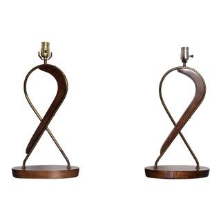 1950s Mexican Modernism Swirled Mahogany Brass Table Lamps by Eugenio Escudero - a Pair For Sale