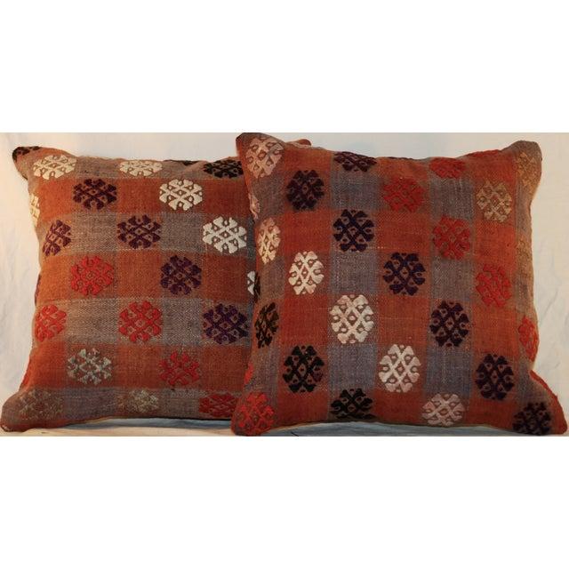 Vintage Handmade Kilim Pillows - a Pair - Image 2 of 7
