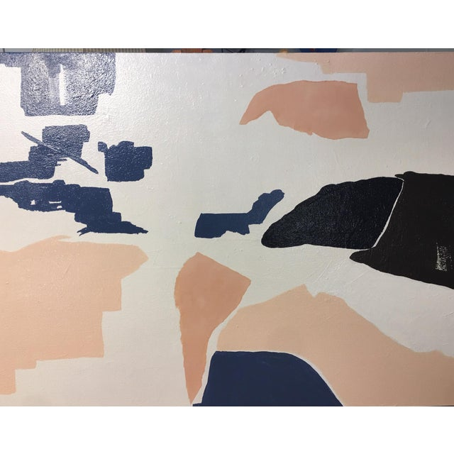 A large original abstract comprised of acrylic on canvas with sealed torn paper. Peach, deeper peach paper, navy, and...