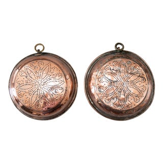Large Antique English Copper Sieves Wall Decor - a Pair For Sale
