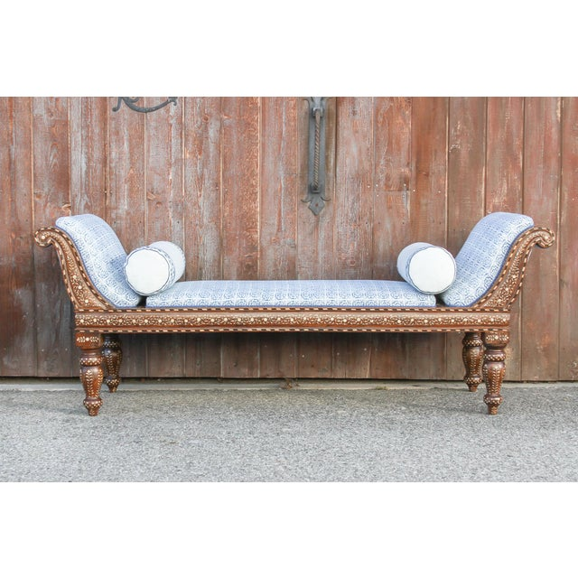 Exclusive Anglo Indian Bone Inlaid Chaise Lounge With Linen Block Print Upholstery For Sale - Image 13 of 13