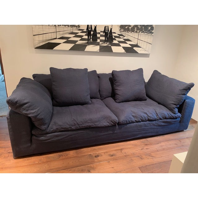 Restoration Hardware Navy Cloud 2 Seat Down Sofa For Sale - Image 9 of 13