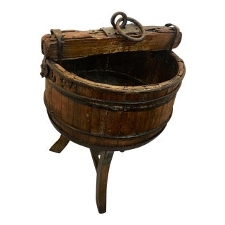 Antique Qing Dynasty Cypress Well Bucket For Sale