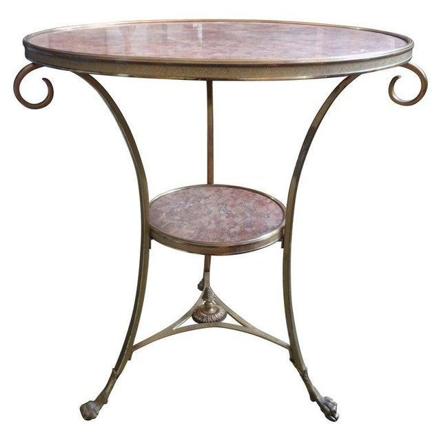 French Louis XVI Style Two Tier Bronze Dore and Marble Gueridon For Sale - Image 12 of 13