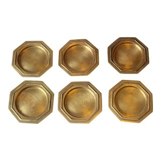 Vintage 1960s Heavy Brass Coasters - Set of 6 For Sale