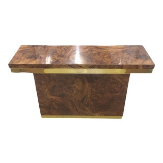 Mersman Burl and Brass Console Table For Sale