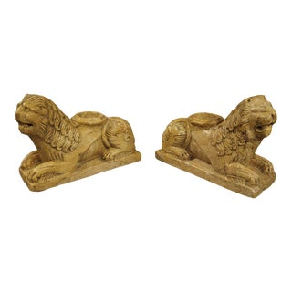 Pair of 16th Century Style Italian Giallo Reale Marble Lion Column Supports For Sale