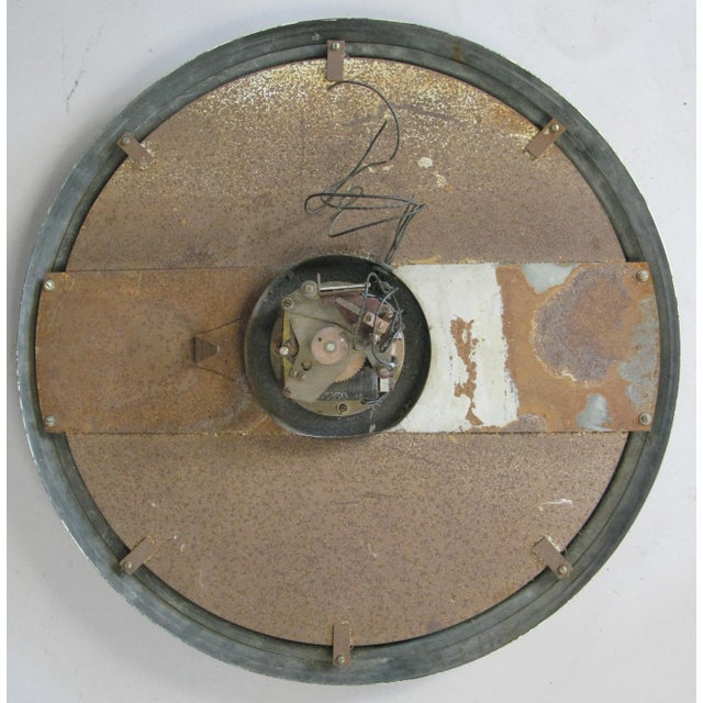 Industrial Antique International Enameled Steel Factory Clock With Original Safety Glass For Sale - Image 3 of 6