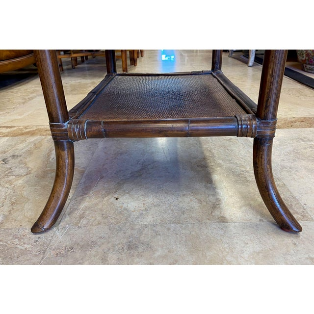 Asian Rattan End Table With Drop Shelves For Sale - Image 9 of 12