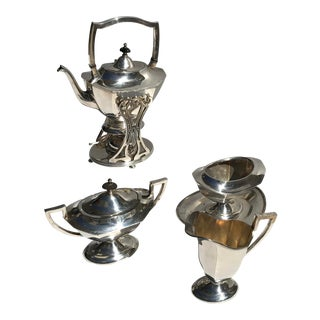 Mid-Century Modern Silver Plated Tea/Coffee Set Included Tea Kettle - Set of 6 For Sale